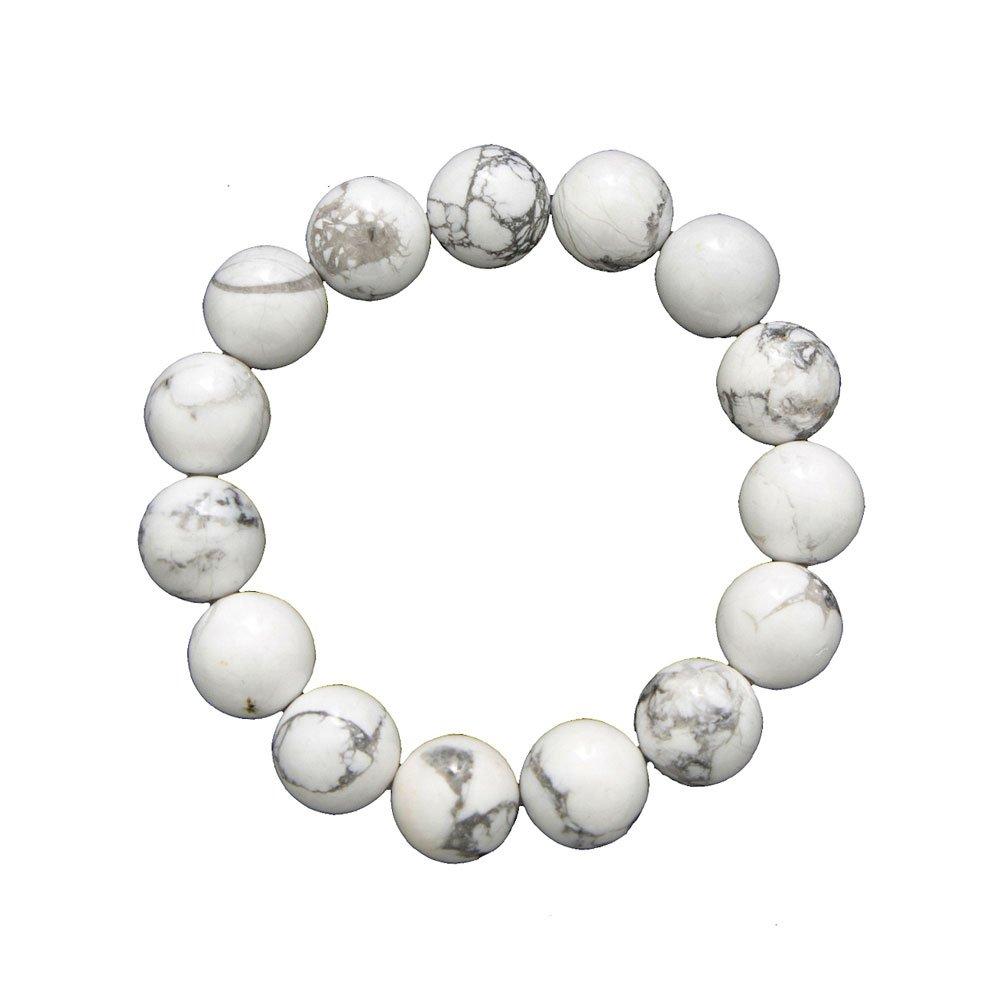 BRACELET PIERRES POLIES HOWLITE lithothérapie perles boules AA 8mm