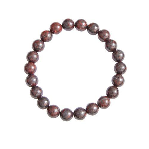 bracelet jaspe bréchique pierres boules 8mm