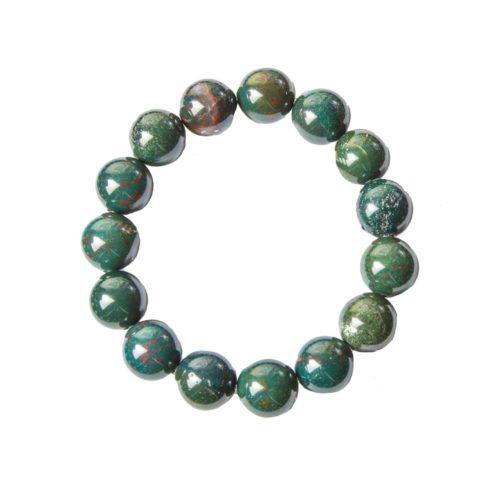 bracelet jaspe héliotrope pierres boules 12mm