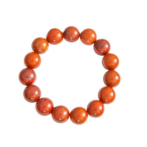bracelet jaspe rouge pierres boules 12mm