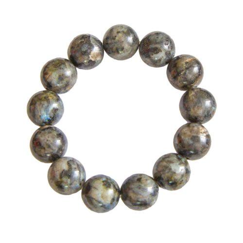 bracelet labradorite avec inclusions pierres boules 14mm