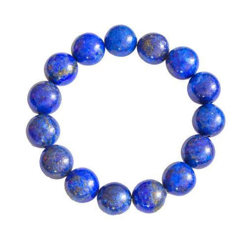 bracelet lapis-lazuli pierres boules 12mm