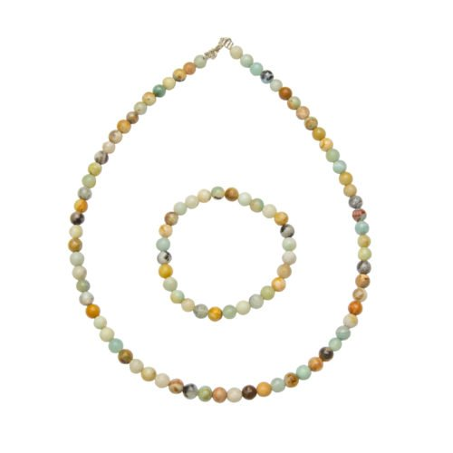 coffret amazonite multicolore pierres boules 6mm