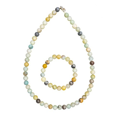 coffret amazonite multicolore pierres boules 8mm