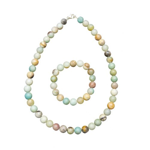 coffret amazonite multicolore pierres boules 10mm