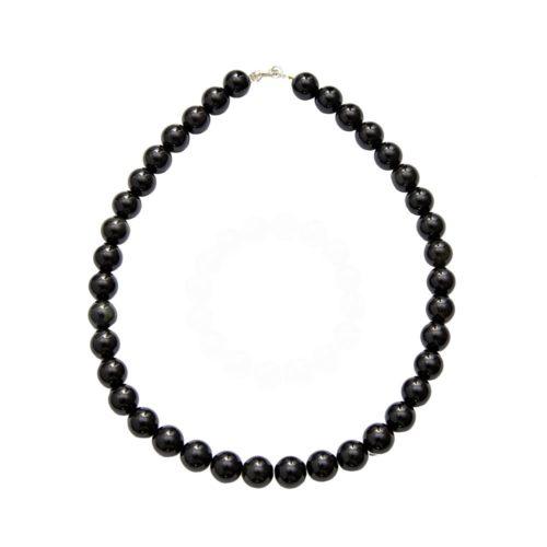 collier agate noire pierres boules 12mm