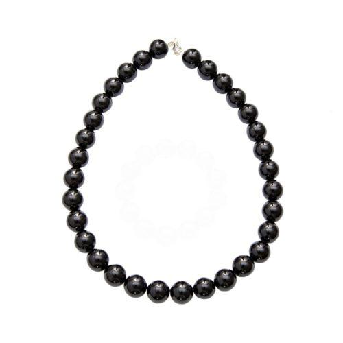 collier agate noire pierres boules 14mm