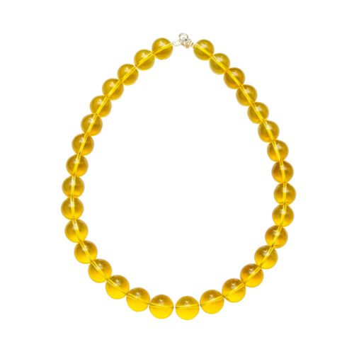 collier citrine pierres boules 14mm