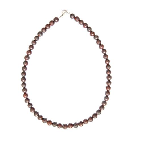 collier jaspe bréchique pierres boules 8mm
