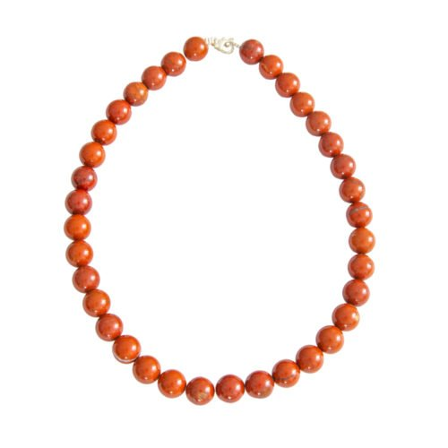 collier jaspe rouge pierres boules 12mm