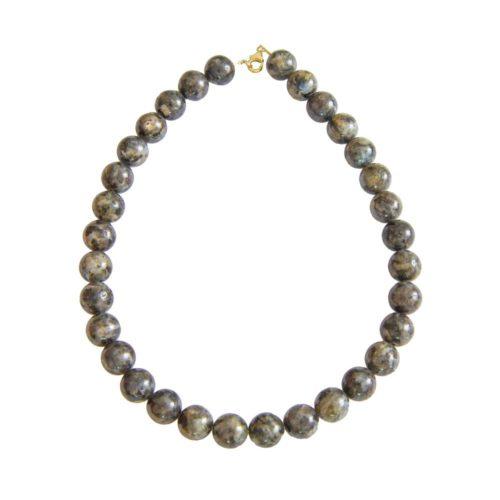 collier labradorite avec inclusions pierres boules 14mm