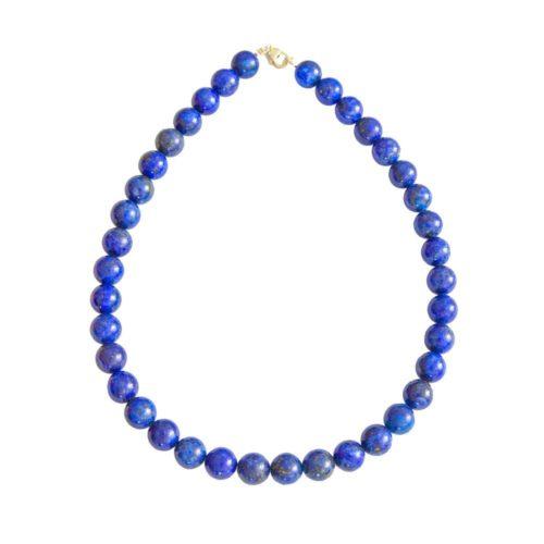 collier lapis lazuli pierres boules 12mm