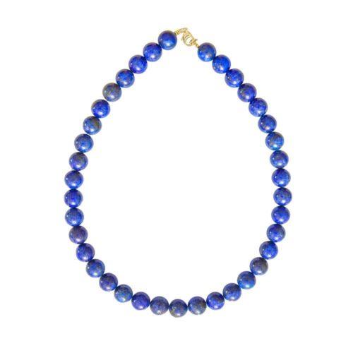 collier lapis-lazuli pierres boules 12mm