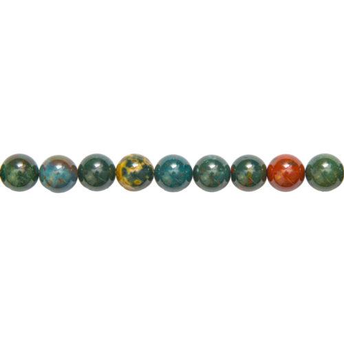 fil jaspe héliotrope pierres boules 10mm