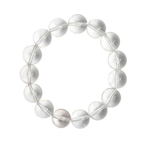bracelet cristal de roche pierres boules 12mm
