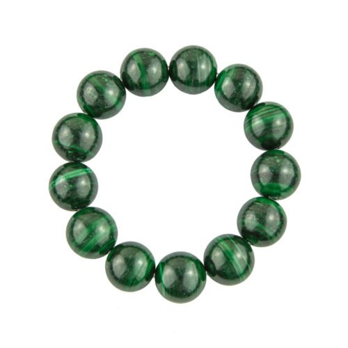 bracelet malachite pierres boules 14mm