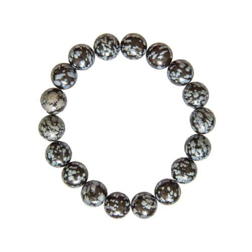 bracelet obsidienne neige pierres boules 10mm