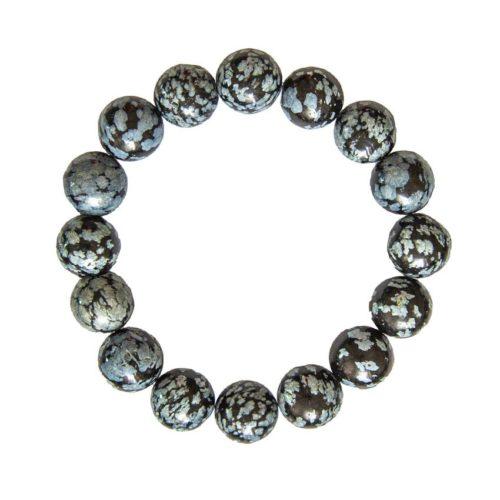 bracelet obsidienne neige pierres boules 12mm