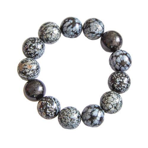bracelet obsidienne neige pierres boules 14mm