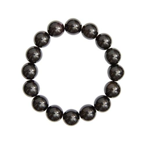bracelet obsidienne noire pierres boules 12mm