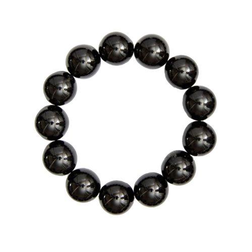 bracelet obsidienne noire pierres boules 14mm