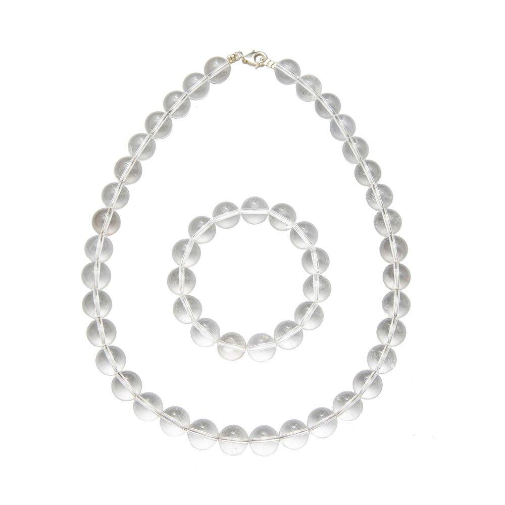 Bracelet Cristal de Roche 18cm Pierres boules 8mm Sans fermoir
