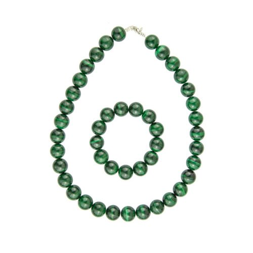 coffret malachite pierres boules 14mm