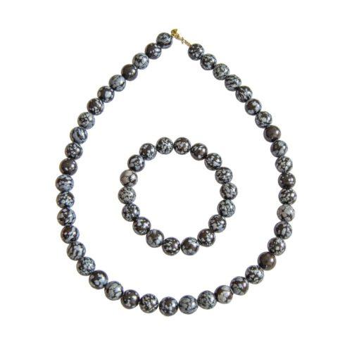 coffret obsidienne neige pierres boules 10mm