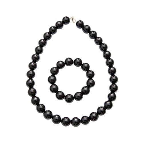 coffret obsidienne noire pierres boules 14mm