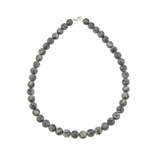 collier larvikite pierres boules 10mm