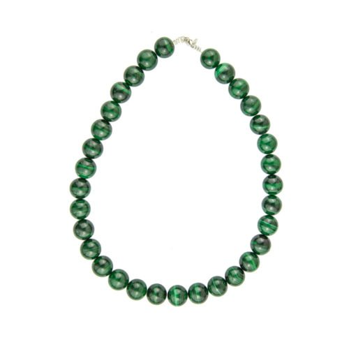 collier malachite pierres boules 14mm