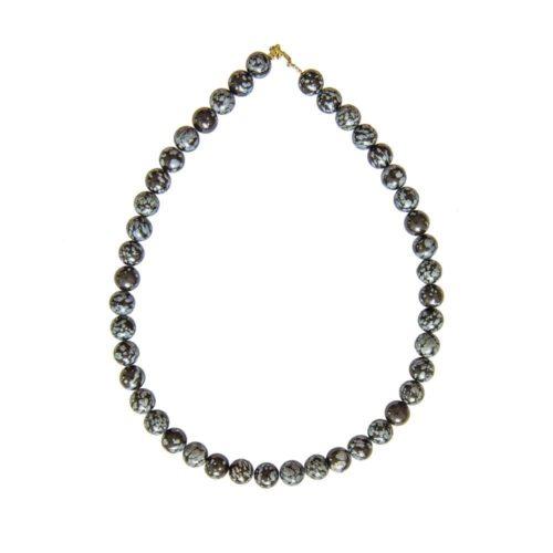 collier obsidienne neige pierres boules 10mm