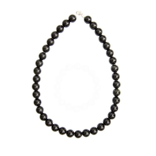 collier obsidienne noire pierres boules 12mm