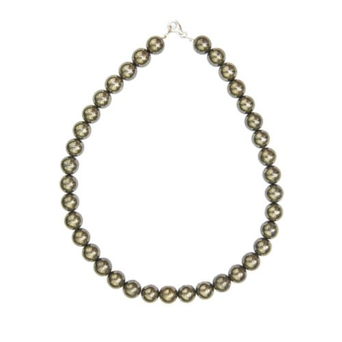 collier pyrite de fer pierres boules 12mm