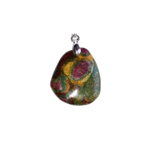 pendentif rubis sur fuschite pierre plate