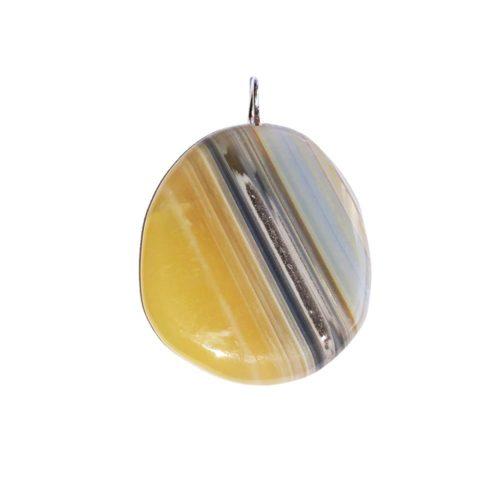 pendentif agate botswana pierre plate