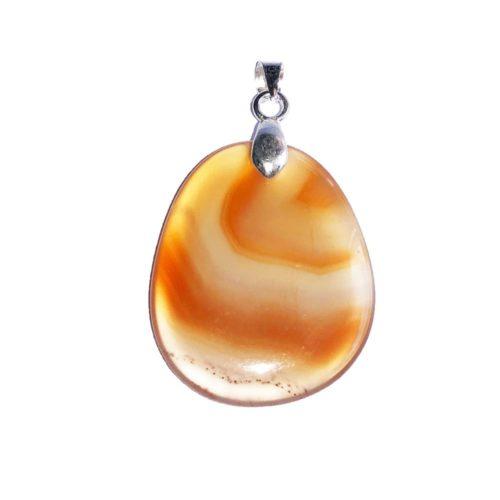 pendentif cornaline pierre plate