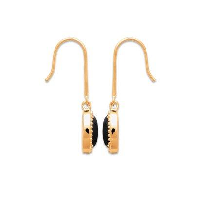 boucles oreilles agate noire plaqué or 750