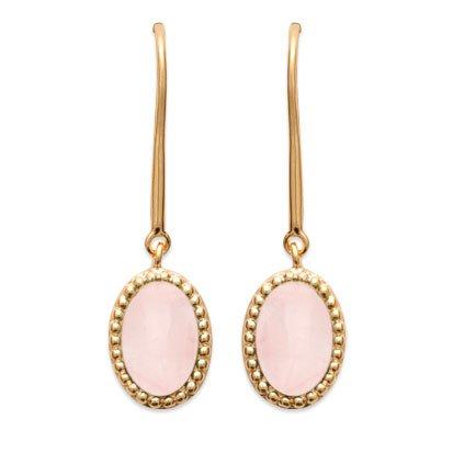 boucles d'oreilles quartz rose plaqué or 750