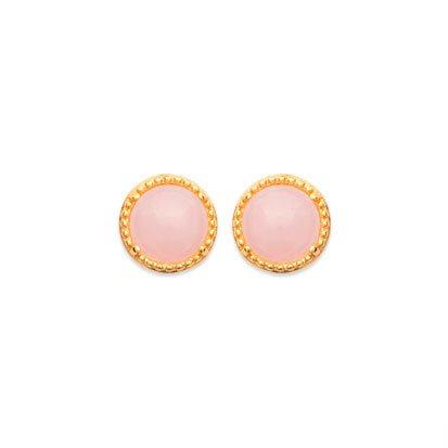 boucles d'oreilles quartz rose plaqué or