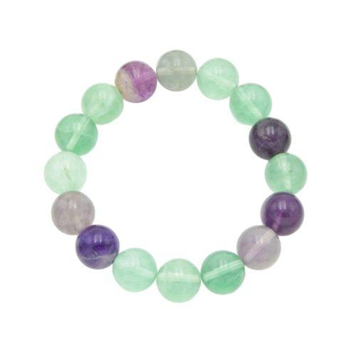bracelet fluorite multicolore pierres boules 12mm