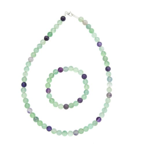 coffret fluorite multicolore pierres boules 8mm