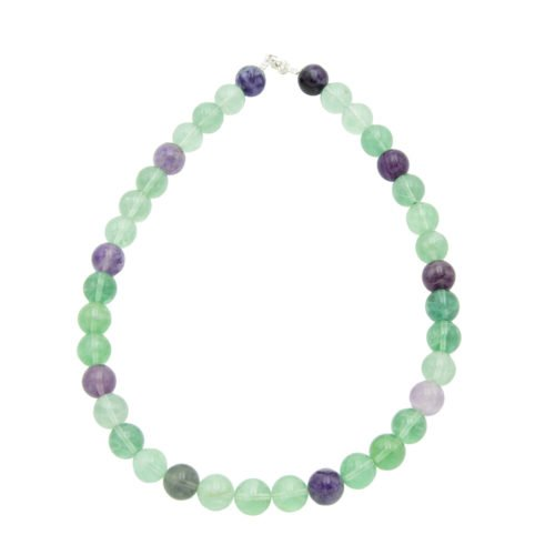 collier fluorite multicolore pierres boules 12mm