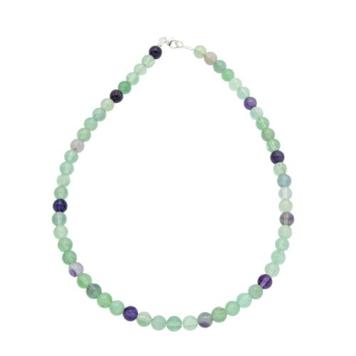 collier fluorite multicolore pierres boules 8mm