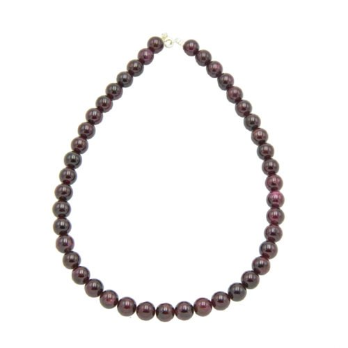 collier grenat pierres boules 10mm