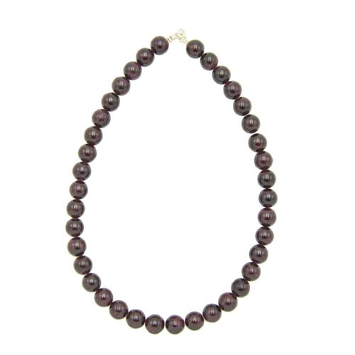 collier grenat pierres boules 12mm