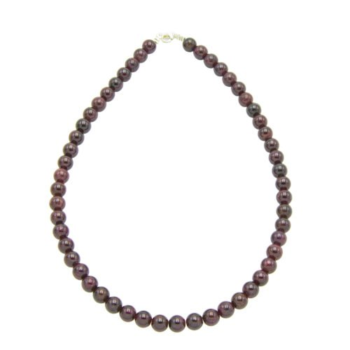 collier grenat pierres boules 8mm