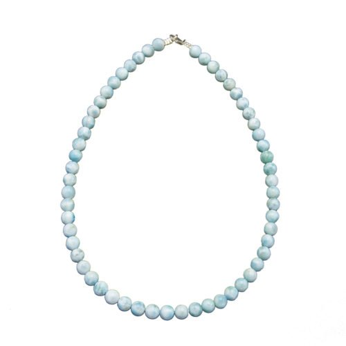 collier larimar pierres boules 8mm
