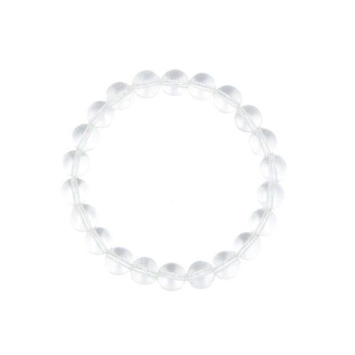bracelet cristal de roche pierres boules 8mm