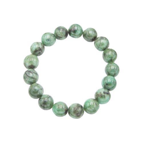 bracelet émeraude pierres boules 12mm